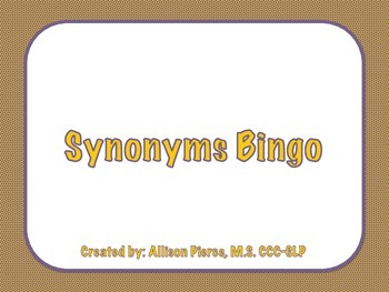 Synonyms Bingo