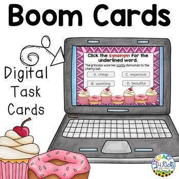 Synonyms Boom Cards (Digital Task Cards) for Second and Third Graders