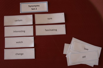 Synonyms Card Sort Activity