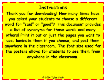 Synonyms: Classroom Posters