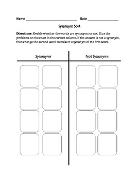 Synonyms : Cut, Sort, and Paste Activity