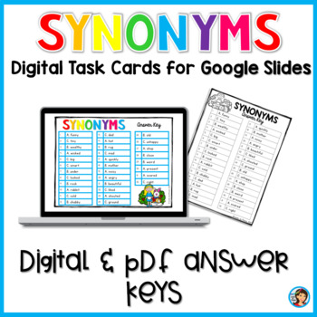 Synonyms Digital Task Cards for Google Slides Paperless Activities