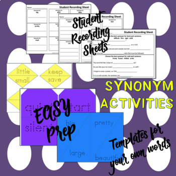 Synonyms- Matching Activity, Student Response Sheets + More