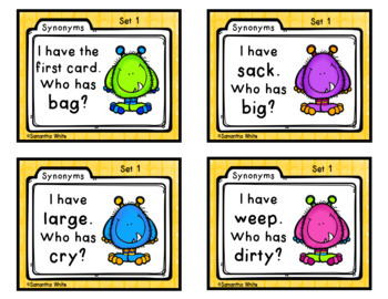 Synonyms - I have...Who has? {Differentiated Cards}