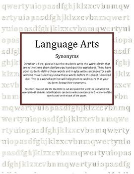 Synonyms Language Arts
