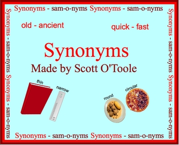 Synonyms - Language Arts Smartboard Lesson