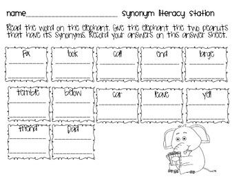 Synonyms Literacy Station