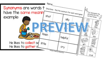 Synonyms Match Activity
