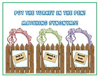 Synonyms Match and Record plus Plurals Turkey Freebie!  2 great themed centers