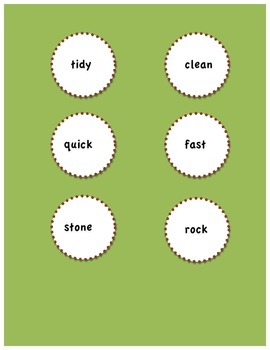 Synonyms Match for Intermediate/1st and 2nd Grade/ELL