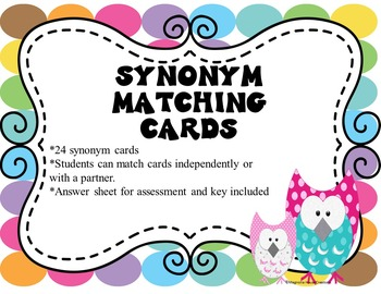 Synonyms Matching Cards