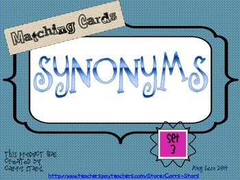 Synonyms Matching Cards Set 3