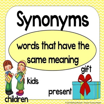 Synonyms - Matching games, Posters, Bulletin Board Set