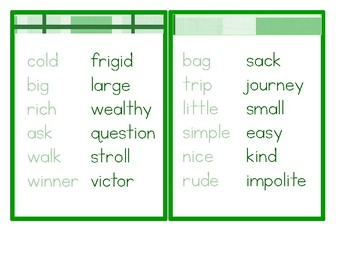 Synonyms - Montessori Word Study