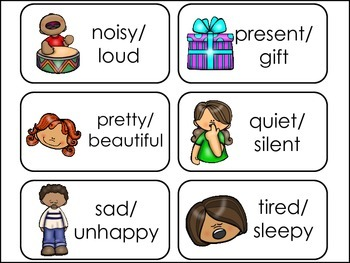 Synonyms Picture Word Flash Cards.