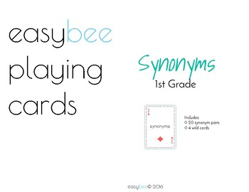 Synonyms Playing Card Decks 1st - 5th Grade