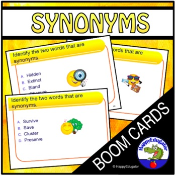 Synonyms Practice BOOM CARDS Vocabulary Builder Upper Grades