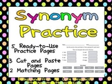 Synonyms Practice Pages - 2nd, 3rd Grade- Cut & Paste and Matching
