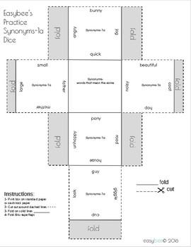 Synonyms Print & Fold Dice - 1st Grade through 5th Grade