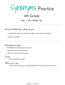Synonyms Print & Fold Dice - 4th Grade
