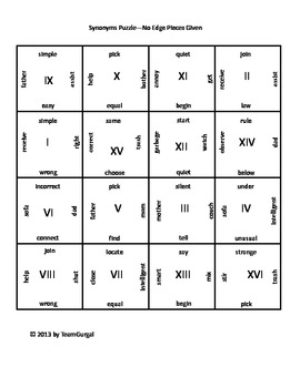 Synonyms Puzzle (Elementary Level)