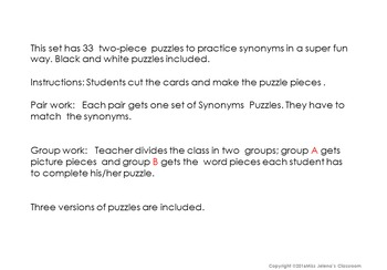 Synonyms Puzzles