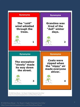 Synonyms Review with Winter Theme: Just Right for Assessment, Centers, or Scoot