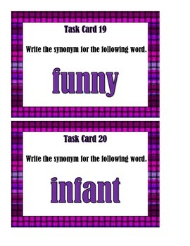 Synonyms Set 2 - Task Cards