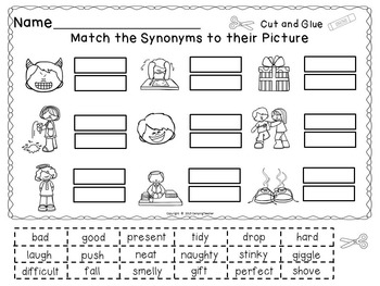 Synonyms Set Posters, Matching Cards, Game, No Prep Printables