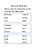 Synonyms Similarities Literacy Reading English Printable Worksheets 2 pgs