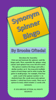 Synonyms Spinner Bingo