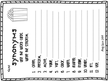 Synonyms THREE SETS of Matching Cards and Recording Sheets