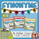 Synonyms Task Card Bundle: 96 Multiple Choice Cards for Grades 4-6