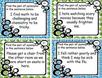 Synonyms Task Card and Worksheet Set
