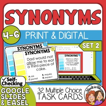 Synonyms Task Cards for Grades 4-6 SET 2