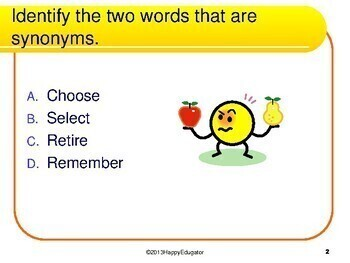 Synonyms Task Cards - 50 Multiple Choice Cards - Grades 4 - 6