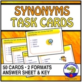 Synonyms Task Cards Set of 50 Multiple Choice Vocabulary Builder