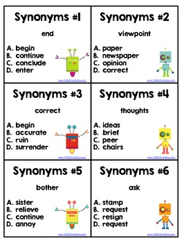 Synonym Task Cards, Scoot, Assessment