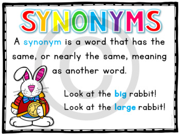 Synonyms Task Cards for 1st, 2nd, and 3rd grade