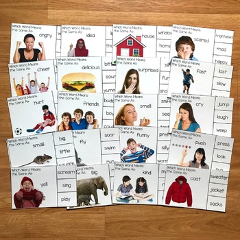 Synonyms Task Cards (w/Real Photos)