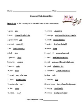Synonyms Test with Detailed Answer Key