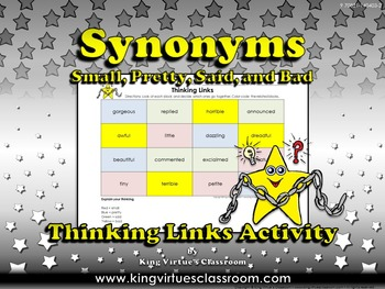 Synonyms Thinking Links Activity #2 Small, Said, Pretty, Bad - King Virtue