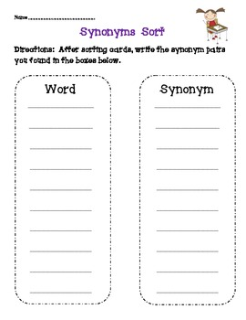 Synonyms Unit-Based on Common Core Standards by Creative Classroom ...
