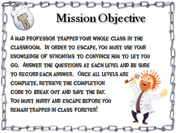 Synonyms: ELA Escape Room - English (Vocabulary Game)