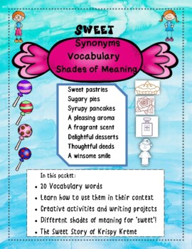 Synonyms- Sweet, Delightful, Fragrant! Shades of Meaning! Fun Facts! Task Cards!