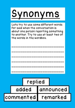 Synonyms; What are they and what other words for said can we use?