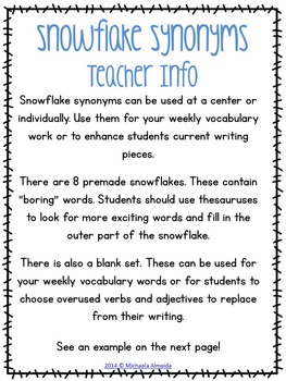 Synonyms - Winter Themed Word Work $1 Deal