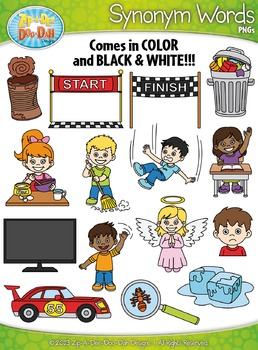 Synonyms Word Clipart Set 2 {Zip-A-Dee-Doo-Dah Designs}