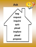 Synonyms - Words to Live By -5 Posters Mustard (quiet, say, take, ask, see)