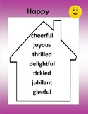 Synonyms - Words to Live By -5 Posters Purple (happy, bad, sad, big, nice)